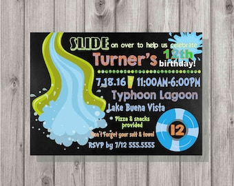 DIGITAL Rustic Chalkboard Summer Water Park Pool Party Birthday Boy Invitation Printable