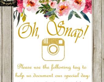 """WEDDING SOCIAL MEDIA Sign """"Oh Snap"""" **Digital**"""