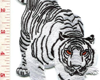 Bengal white tiger tattoo applique iron-on patch LARGE 3.88 X 5.88 inches