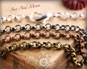 30 Necklaces - 1.8mm PETITE Rolo  - Mix and Match Any - Antique Bronze Chain, Antique Copper Chain, Silver Chain, Gunmetal Chain