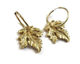 Hoop Dangle Leaf Earrings Vintage