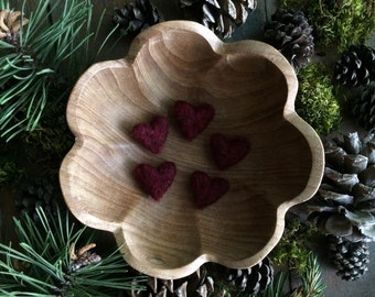 Custom listing for Amber: Felted wool hearts, Garnet Red, set of 25