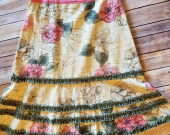 ANTHROPOLOGIE Boho Skirt. Mori Girl. Vintage Retro. Wedding. Engagement Photos. Lagenlook. Bridal Shower.