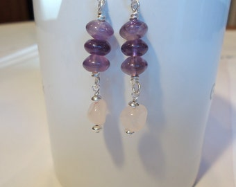 Amethyst and Rose Quartz Wire Wrapped Earrings