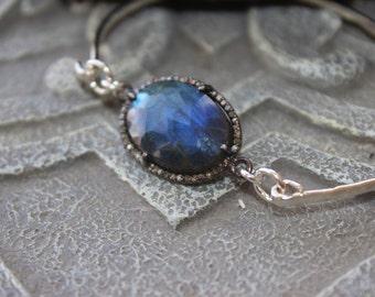Labradorite diamond framed bangle bracelet, labradorite  slice bracelet, blue luxurious sterling bangle, gift for her
