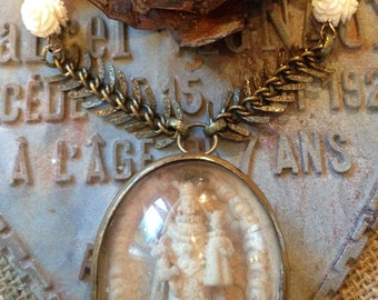Antique  French Religious Meerschaum Necklace , Hand Carved Virgin Mary and the Infant Jesus Assemblage Necklace
