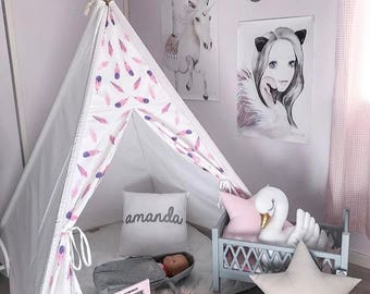Kids Tepee with pink feathers, Tipi with poles, Kids outdoor indoor playtent, children play tent, teepee, wigwam, scandinavian play tent