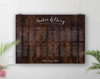 World Map Table Plan, Wood style design, Rustic Wedding, Seating Chart, Table Plan Map, Paper Print, Wedding Seating Plan Travel Theme Table