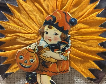 Vintage Halloween Die Cut and Crepe Paper Cake Pick with girl, black cat,JOL and witch