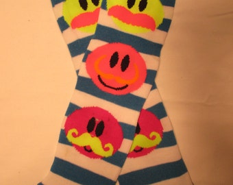 Leg Warmers  / Arm Warmers / Babylegs  - Mustache Smile Faces - Blue and White Stripes with Neon Pink Tops - Dees Transformations