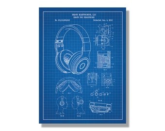 Gibson les paul guitar patent screen printed poster audio beats pro headphones by dr dre music and audio patent poster blueprint style malvernweather Gallery