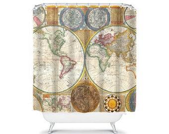 vintage world map shower curtain vintage bathroom decor, home living, globe shower, vintage decor, travel shower curtain map shower curtain