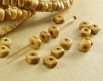 40 Bone Beads 4mm to 5mm Nuggets Tea Dyed Brown natural real animal bone beads