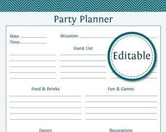 Party Planner - Fillable - Printable PDF - Instant Download