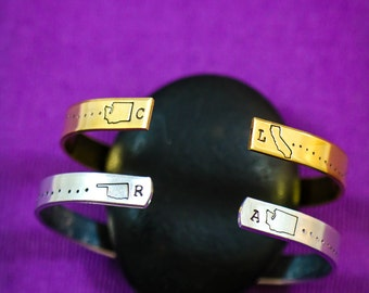 Silver Cuff Bracelet • Best Friend Gift • QQQ • Friendship Bracelet Graduation Gift Going Away Gift•Gold Cuff Sister Gift Friendship Jewelry