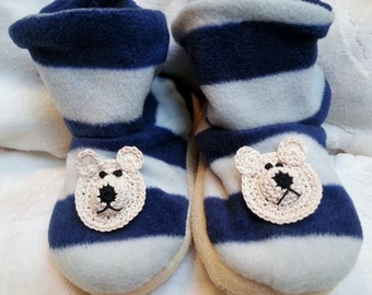 Boys Infant Toddler Blue Grey Fleece Slippers Boots - Handmade Teddy Bear Puppy Dog Face -  Sizes Small and Large (approx 2T-5T)