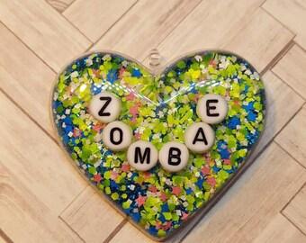 Zombae Letter Heart Keychain