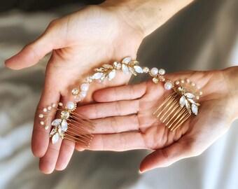 Bridal Headpiece, Bridal Hair Swag, Pearl Hair Vine, Wedding Hair Comb, Draped Bridal Headpiece, Opal hair piece, Gold Wedding Hairpiece
