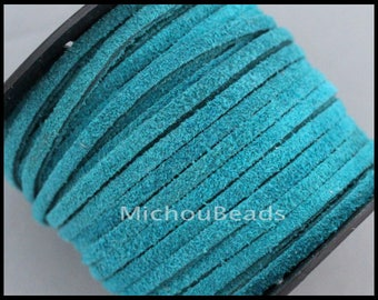 2 Yards Genuine SUEDE Cord - 3mm TEAL Turquoise 6 feet 3x1.5mm Flat Real Split Suede Natural Dye Color Wholesale Lace Cording by the Yard