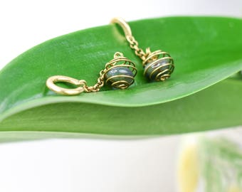 Brass weights with green ocean agate stones