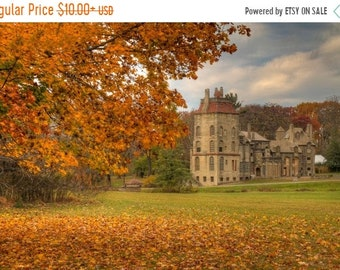 SALE 20% Off Fonthill Caste in Autumn Landscape Photograph Fall Foliage Orange Fine Art Photography Zen Doylestown Bucks County Pennsylvania