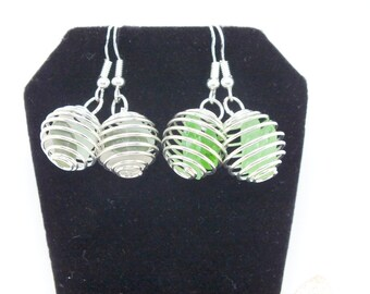 Sea Glass Earrings, Silver Cage Earrings, Lake Erie Beach Earrings, Sea Glass Jewelry, Mothers Day Gift, Beach Gift