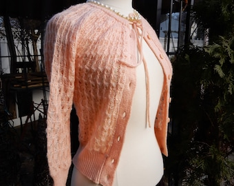 Lovely Vtg 1960's Lt Pink Hand Crocheted Cardigan Sweater by Match Factory JC Penny sz XS/S