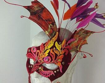 Red Fire Masquerade Mask//Fire Masquerade Mask//Firebird Masquerade Mask//Masquerade Mask//Halloween Masquerade Mask//Mardi Gras//Cosplay s