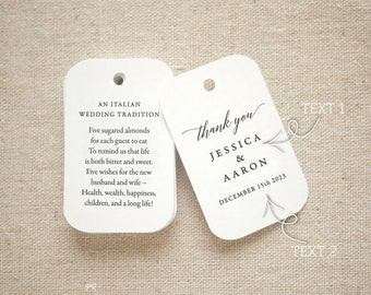 Thank You Sugared Almonds Personalized Gift Tags - Jordan Almond Favor Tags - Wedding Favor Tag Bomboniere - Set of 20 (Item code: J749)