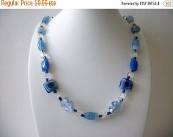 ON SALE Vintage 1950s Blue Clear Glass Artisan Foil Beads Necklace 72816