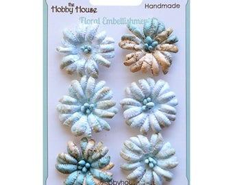 Boutique Paper Flowers - Daisies Aqua Blue