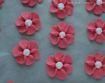 Royal Icing Flowers  Large Coral Edible Drop Flowers  Sugar Flowers for Cake Decorating