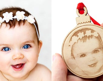 Wooden Christmas ball engraved with your photo. Christmas gift, decoration, customizable Christmas tree ornament : Ribbon and wood color