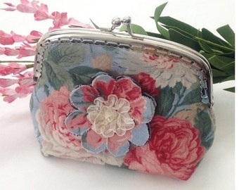 Vintage Rose Coin Purse, light Blue, Pink Roses, Small Wallet, Silver Clasp Purse, Gift for Her Under 25,  Summer Sale
