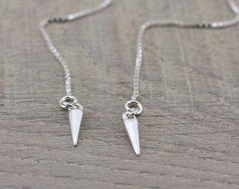 Spike Earrings, Silver Dangle Earrings, Long Earrings, 925 Sterling Silver Threader Earrings, Ear Thread Earrings, Minimal Chain Earrings