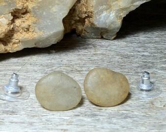 Polished Ocean Pebble Earrings / Beach Stone Earrings / Boho Natural Stone Stud Earrings