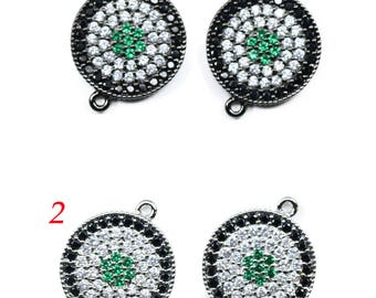 Lovely bead Microfiber Pave CZ 14mm Black, Green, and Clear Connector
