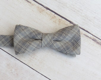Baby Boy Bow Tie| Neutral Gray Plaid Bow Tie | Cotton Bow Tie | Adjustable Strap Bow Tie | Boy Kid Bow Tie| Ring Bearer Bow Tie| Photo Prop