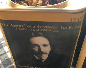 Literary Tea honoring Stevenson rare Rose Gold Tea™ USA grown exclusively for The Robert Louis Stevenson Tea Room Gardens & Museum. rls
