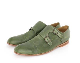 Monk Vagabundo Shoes in Marble Green