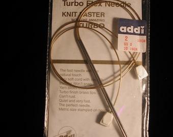 "Addi Turbo Flex Knitting Needles Hybrid US 0  20"" Skacel Collection"