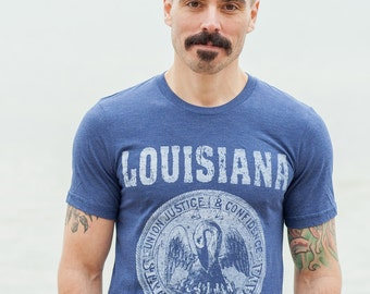 Louisiana State Seal  T-Shirt. Vintage Style Soft Retro Southern Shirt Unisex Men's Slim Fit and Women's Tee