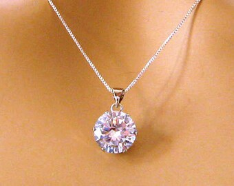 Cubic Zirconia Necklace, 12 mm CZ Pendant, Large Cubic Zirconia Solitaire Necklace, Sterling Silver, Wedding Jewelry, Mothers Day Gift