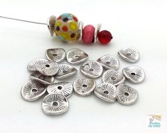 20 spacer 8mm diameter, nickel free (pm183) wavy disc beads