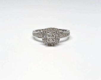 Princess cut halo engagement ring. Princess cut promise ring. Anniversary gift.