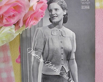Vintage 1930s Knitting Pattern Lady's 'Dorothy' Button Up' Jumper Cardigan With Bow. Fit 36 Inch Bust.