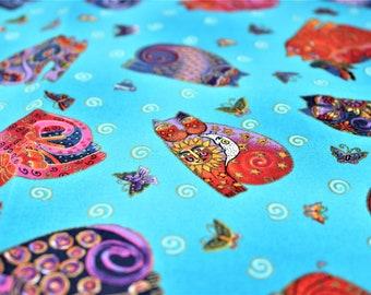 Laurel Burch Rare Oop FABULOUS FELINES Tossed Cats on Blue Fabric - BTHY