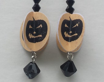 Black Pumpkin Halloween Paper Earrings Black Crystals FREE SHIPPING!