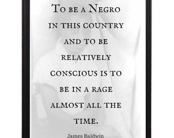James Baldwin Famous Photo and Quote - Framed 8x10 - Afrocentric Art, Black Art, African American Art, Black History  **Free Shipping**