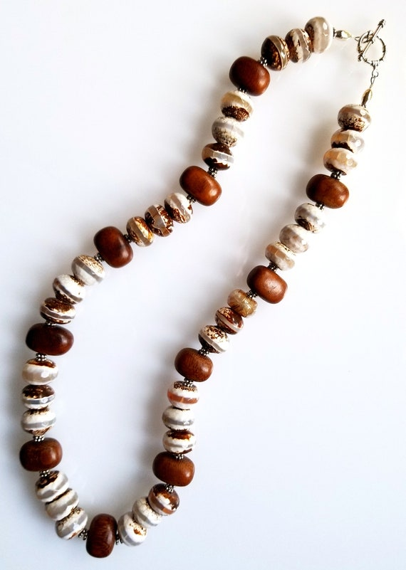 Agate Necklace, Banded Agate Necklace, Brown Necklace, White Necklace, Boho Necklace